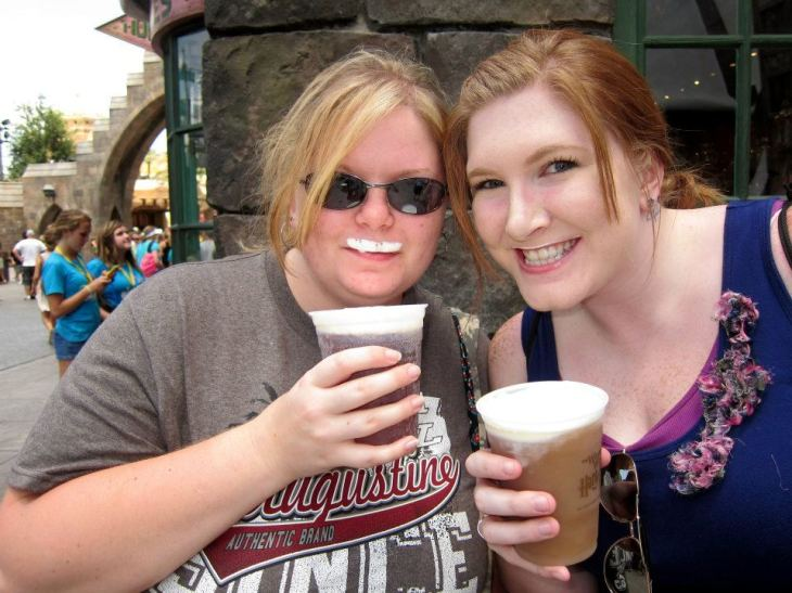 "There are a million ""better"" pictures I could share, but this one is true friendship: sharing a Butterbeer at Harry Potter World in Florida!"