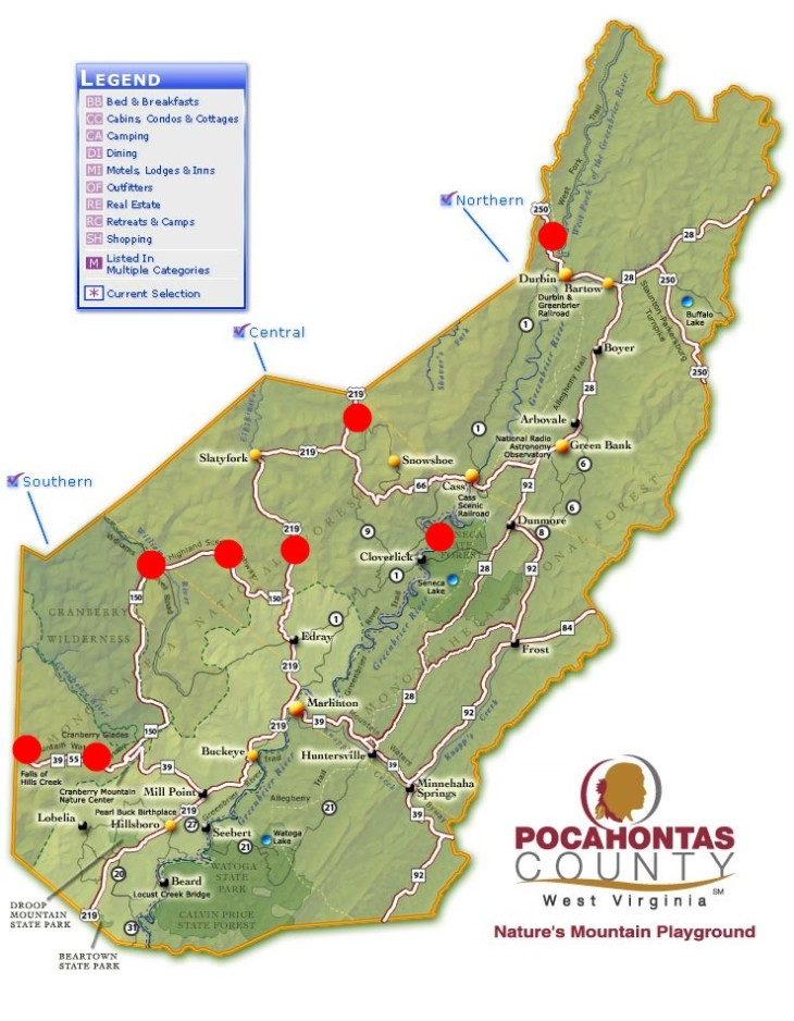 Map provided by Pocahontas County CVB